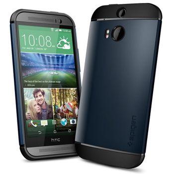 Spigen pevné pouzdro Slim Armor Metal slate pro HTC One M8, kovově modrá, rozbaleno