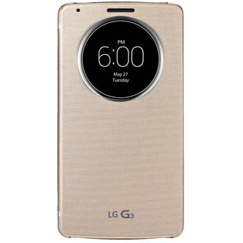 LG flipové pouzdro QuickCircle CCF-345G pro LG G3, zlatá