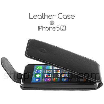 Pouzdro kožené Brando Flip Top - iPhone 5C, černá