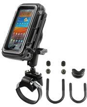 RAM Mounts vodotěsný držák na mobilní telefon na motorku nebo kolo na řídítka Ø objímky 12,7-31,75 a 40-80 mm, AQUABOX™ střední, sestava RAM-B-149Z-2-AQ2