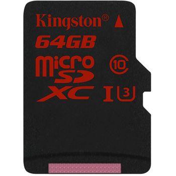 Kingston microSDHC 64GB Class 10/UHS-I U3, zápis 80MB/s + SD adaptér