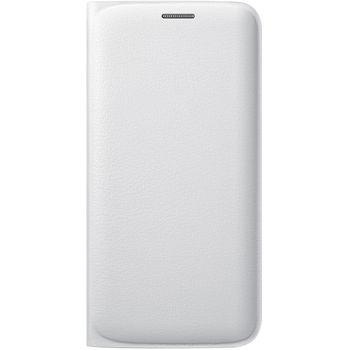Samsung flipové pouzdro s kapsou EF-WG925PW pro Galaxy S6 Edge, imitace kůže, bílá