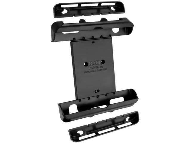 """obsah balení RAM Mounts univerzální držák na tablet  9"""" až 10,1"""" do auta s úchytem na patu sedadla spolujezdce, X-Grip / čelisťový, sestava RAM-B-316-1-TAB-LG"""