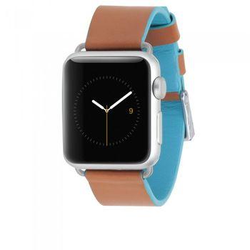 Case Mate výměnný řemínek Edged pro Apple Watch 38mm, modro-hnědá
